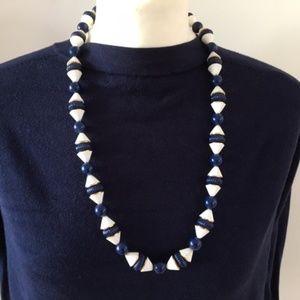 Vintage necklace white navy gold color